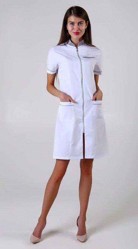 31045e5f86b60 Лидеры продаж Медицинская одежда Рабочая одежда. Халат Каролина на молнии